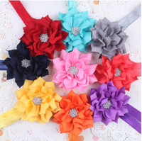 Wholesale New Baby Head Flower Hair Band Headbands Lotus leaves Rhinestone Headbands Hair Ornaments Headdress Baby Party Head Flower Colors