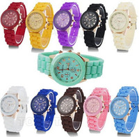 Wholesale New Shadow Style Geneva Watch Colours Optional Rubber Candy Jelly Fashion Men Wamen Silicone Quartz Watches DHL