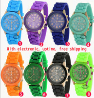 Wholesale New Shadow Style Geneva Watch Rubber Candy Jelly Fashion Men Wamen Silicone Quartz Watches Colours Optional DHL