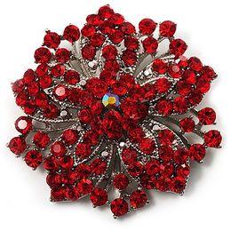 Wholesale Vintage Rhodium Silver Plated Red Rhinestone Crystal Diamante Bridesmaid brooch