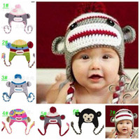 Winter baby monkey for sale - Hot Sales Handmade Monkey Hats for Baby Girl Boy Beanies Crochet Earflap Baby Hat Cap Mixed Color
