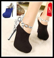 Wholesale Sexy Color Block Snake Grain Blue Black Shoes Ankle Strappy Round Toe High Heel Ankle Boots Size to ePacket