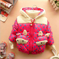 Coat Girl Winter Wholesale - Winter Children's Clothing Baby girls thick Outerwear Coats Parkas cute rabbit Ears polka dot hoodies jackets 4pcs lot