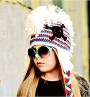Winter baby girl skull and crossbones - Skull and Crossbones Punk Hat Kids crochet Beanie Hat Baby Skull Hat Winter Gift Children Handmade Knitting Beanie Hat animal crochet cap