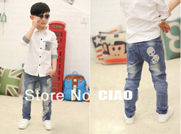 Wholesale In stock baby pants fashion boy skull design jeans spring autumn children trousers and Retail