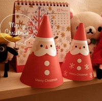 Wholesale New Arrival DIY Greeting Xmas Card Creative Santa Claus Cone Design Christmas cards Supplies Novelty Paper Greeting Cards