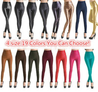 Leggings Skinny,Slim Long Fashion Sexy Faux Leather Legging Fabric Stretchy High Waist Ladies Leather Look Leggings Women Trousers Pants 4 sizes 19 Colors Must Have