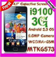 Wholesale Arrival i9100 MTK6573 WCDMA GSM quot capactive Android MP camera real gps mobile phone Mobile phone in stock