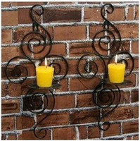 Wholesale Pastoral style wall mounted candle holders Iron Candlestick Hand made wall scene