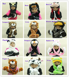 Wholesale Cartoon Animal Tiger Lion Giraffe Dog Frog Rabbit Cat Intigrated Scarf Hats Gloves For Children Kids Christmas Gifts Welcome Order
