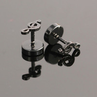 Wholesale pairs mm Black Music Notes Stainless Steel Personality Stud Earrings