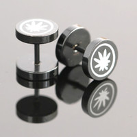 Wholesale pairs mm Black Maple Leaf Stainless Steel Round Barbell Mens Ear Stud Earrings Punk Cool Gift