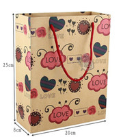 Wholesale 2013 new style Medium SIZE paper gift bags kraft paper bags gift bags clothing bags gift box gift handbag EMS freeshipping