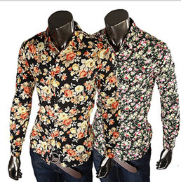 New Fashion Mens Shirts Floral Shirts Slim Fit Stylish Dress Shirt Casual Slim Fit Stylish 5 Colors size:M-XXL 315