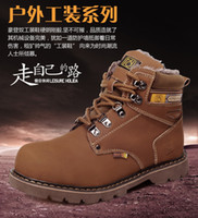 Wholesale Hot Sale New Fashion Men s Winter Outdoor Tooling Boots Genuine Cow Leather Lace Up Warm Plush Military Martin Boots