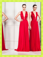 Reference Images V-Neck Chiffon 2014 Zuhair Murad Hot Red V-Neck Sexy Sheath Evening Gowns Ruched Chiffon FLoor Length Greek Goddess Celebrity Party Formal Dresses Cheap