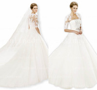 Wholesale 2014 Babyonline Sexy Crystals White Ivory Bridal Lace Sheer Jacket Long Sleeves Wedding Dresses pr03029