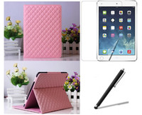 Wholesale New Checked Grid Pattern Folio Folding PU Stand Leather Case Cover Film Stylus for Apple iPad Air iPad inch Tablet pc