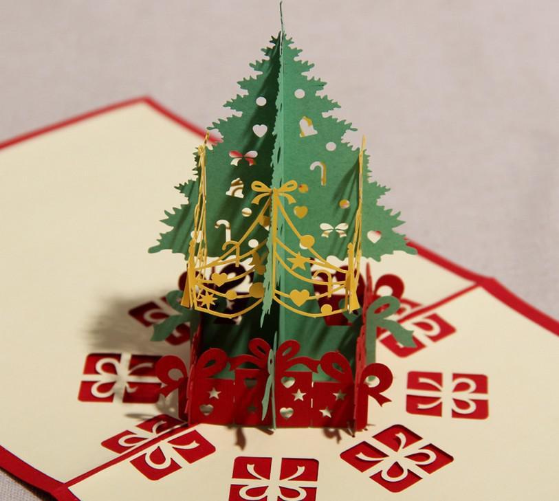 3д елка для открытки