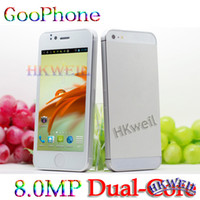 Wholesale MTK Dual Core Goophone i5 Android with ROM GB mp Camera GB Cell Phone MTK6577