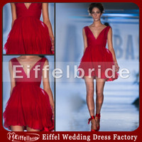 Wholesale Deep V neck Chiffon Red Designer One Piece Party Dress with Ruched and Pleats