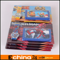 Wholesale Cartoon Spiderman Watches and Wallet Sets With Gift Box XMAS Gift Purses Wallets With Other Carton Charactor Mix Order