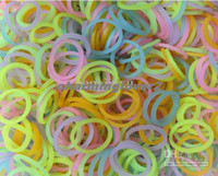 Link, Chain Copper  Wholesale - Twistc Band Rainbow Loom 300 counts Translucent Glow-In-The-Dark Rainbow Silicone Rubber Bands with 'S' Clips