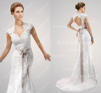 2014 Lace Mermaid Wedding Dresses Hot V Neck Lace Applique S...