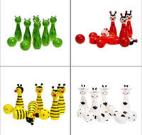 Wholesale Super cute hot sale baby wooden toy cartoon animal mini bowling game retail