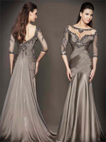 Reference Images Jewel/Bateau Chiffon 2014 Gray Mermaid Formal Bateau Crystals Beaded Sexy Backless Court Train Chiffon Zuhair Murad Long Sleeve Evening Gowns Prom Dresses HP365
