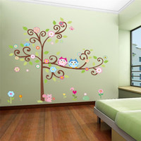 Wholesale Cartoon Wall Stickers DIY Owl Wall Decals for Children Nursery