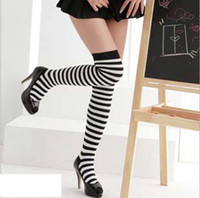 Wholesale Black strip Stocking Alice Stockings Stage Wear Cosplay Costume Accessories Maid Suit outfit