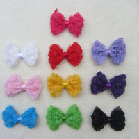 Wholesale 50pcs Children s Chiffon Rose Flower Bows With Clips Baby Girl Kids Hair Clips Baby Hair Accessories Hair Bows With Ribbon Covered Dot Clip