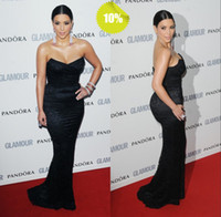 Reference Images V-Neck Lace Hot Off The Shoulder V-Neck Mermaid Trump Lace Black Prom Evening Dresses Kim Kardashian Dresses Celebrity Dresses With The Brush Train
