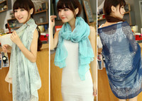 Wholesale New Korean Design Fashion Women Spring Autumn Chiffon Porcelain Printing Scaves Wraps GY1