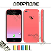 Wholesale Goophone I5c I5 C GHz MTK6572 Dual Core GB ROM Android with inch IPS Screen WIFI MB RAM Smartphone Free Case