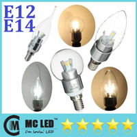 5W candle light led - Brand New E12 E14 Led Light Candle Bulbs Transparent Cover Warm Cool White W Led Spotlights V