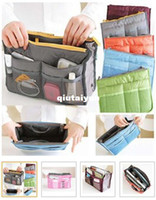 Wholesale 2013 new Women Travel Insert Handbag Purse Large liner Organizer Bag Storage Bags Amazing Colors WY193 p