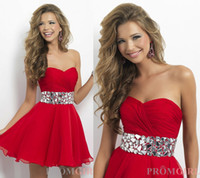 Wholesale 2014 Simple Beaded Sashes Decorate Cocktail Dresses Sweetheart A Line Short Red Chiffon Party Dress