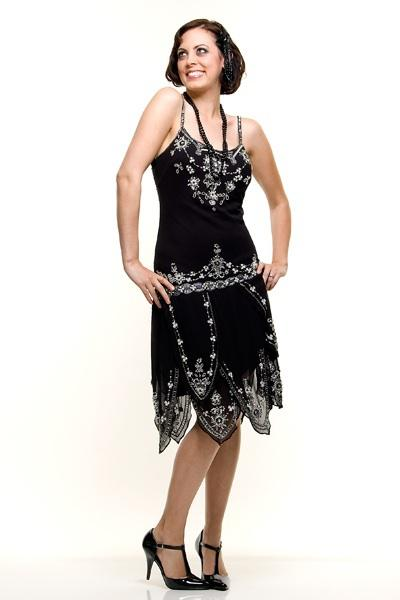 Plus size beaded flapper dress