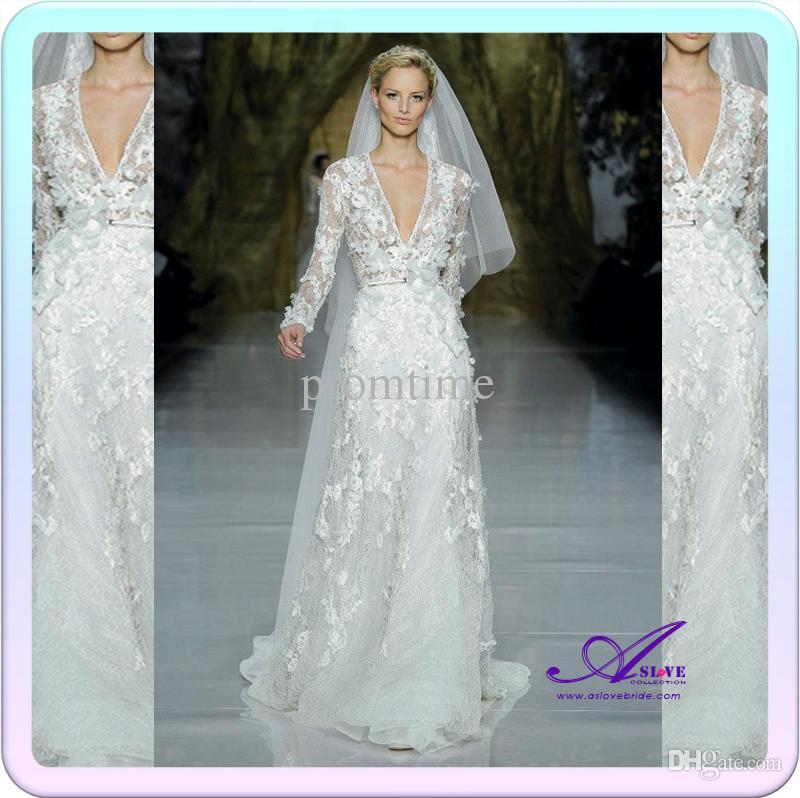 Discount 2014 elie saab wedding gowns sexy deep v neck for Elie saab wedding dress for sale