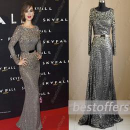 Real Imagen Elie Saab vestidos de noche Jewel escote de manga larga gris de lentejuelas encaje de cristal rebordear Sash vaina vestido desfile