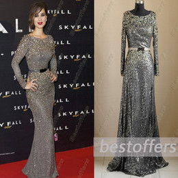 Wholesale Real Image Elie Saab Evening Dresses Jewel Neckline Long Sleeves Grey Sequin Lace Crystal Beading Sash Sheath pageant gown