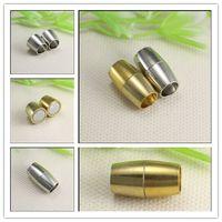al por mayor tapas de plata pulsera de cuero-Los extremos fuertes del tono del oro de plata antiguo 30PCS magnifican los corchetes magnéticos con el agujero interno 6m m para hacer los resultados de la joyería de la pulsera de cuero