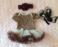 Wholesale leopard cotton romper with tutu with match baby shoes and headband set