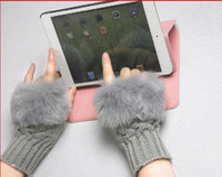 Wholesale Half finger gloves Imitation Rabbit brief paragraph winter warm wool knitting YXC152H