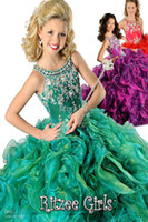 Wholesale Beads Ballgown Halter Sweep train kids Party Prom dresses Ritzee Girls Pageant Dress Style