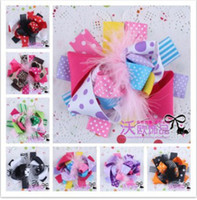 Wholesale 20 Baby Hair Bows Girl Layered Hair Bows Boutique Christmas Feather Hair Bows Handmade Ribbon Flower Hair Clips Children Headwear