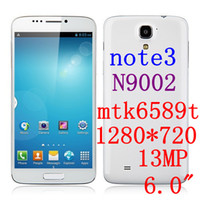 Star 6.0 Android original star N9002 Note 3 N9000 Android Phone 6.0 inch screen MTK6589T quad core 1.5GHz GB RAM 16GB ROM 1280*720 3G Dual SIM GPS.PK THL W11