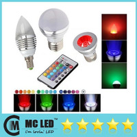 Wholesale E27 E26 E14 MR16 GU10 W Led RGB Spot Bulbs Colors Changing RGB Led Candle Lights Led Globe Lamp V Remote Control
